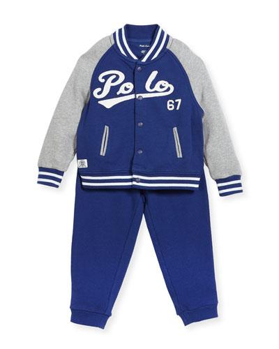 Lightweight Terry Baseball Jacket w/ Sweatpants, Size 9-24 Months