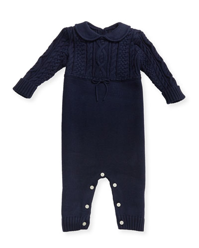 Cable-Knit Cotton Coverall, Navy, Size 3-9 Months