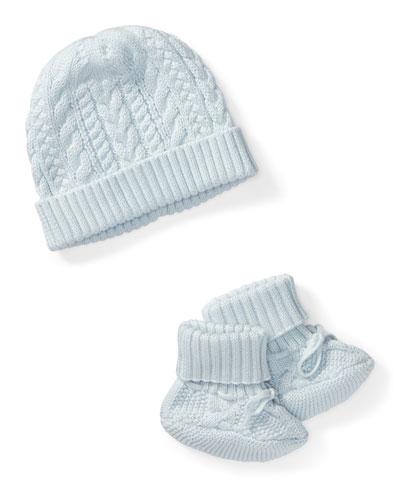 Ralph Lauren Childrenswear Cotton Accessory Set, Blue, Size Newborn - 9 Months