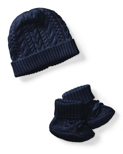 Ralph Lauren Childrenswear Cotton Accessory Set, Navy, Size Newborn - 9 Months
