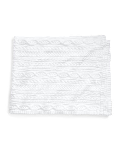 Cable-Knit Baby Blanket, White