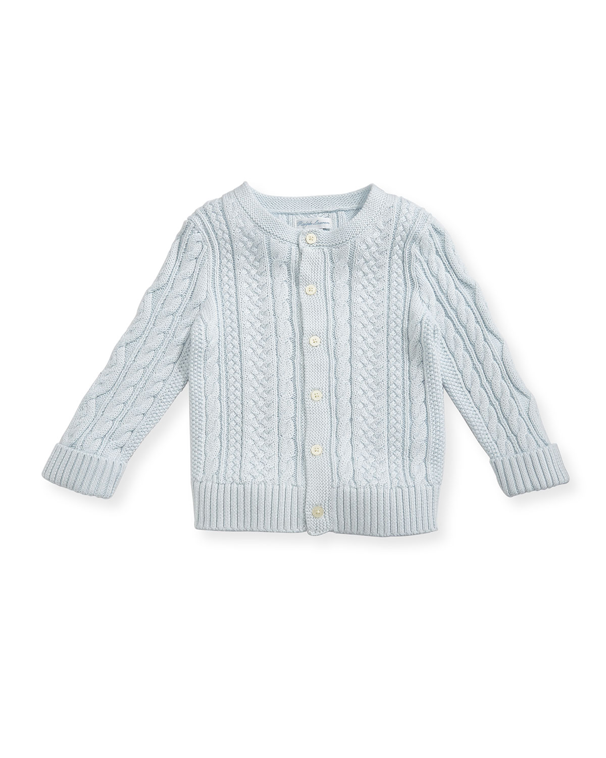 Ralph Lauren Childrenswear Kids' Soft Pearl Cotton Cable-knit Cardigan, Blue, 6-24 Months