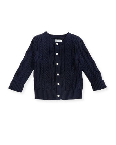 Soft Pearl Cotton Cable-Knit Cardigan, Navy, 6-24 Months