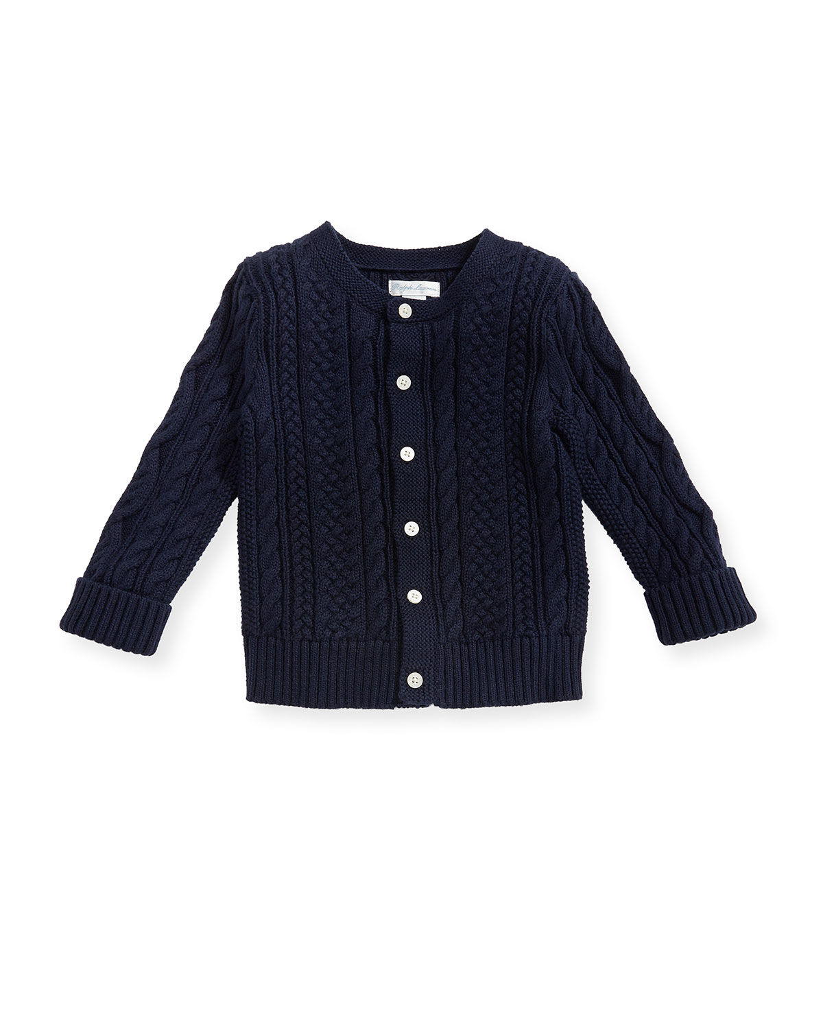 Soft Pearl Cotton CableKnit Cardigan Navy 624 Months