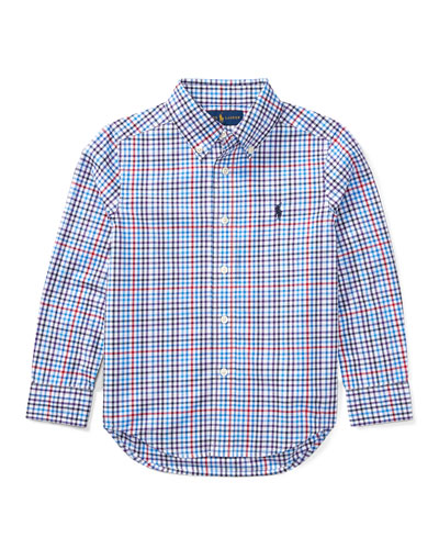 Poplin Plaid Button-Down Shirt, Blue/Red, Size 2-4