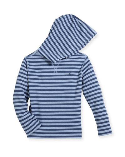 Stripe Waffle-Knit Hooded T-Shirt, Size 2-4
