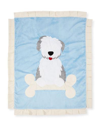 Boogie Baby Puppy Love Plush Baby Blanket, Blue