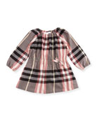Kadyann Check Long-Sleeve Dress, Size 6M-3Y