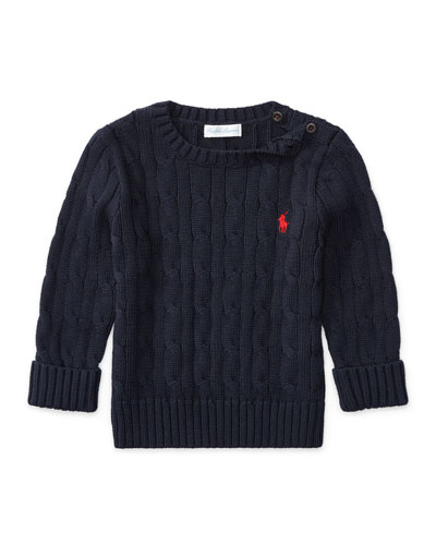 Ralph Lauren Childrenswear Cable - Knit Combed Cotton Sweater, Navy, Size 9 - 24 Months