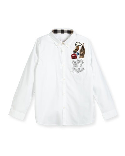 Fred London Patches Button-Down Shirt, Size 4-14