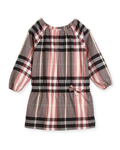 Kadyann Check Long-Sleeve Dress, Size 4-14
