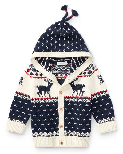 Cotton-Wool Blend Reindeer Hooded Sweater, Size 9-24 Months