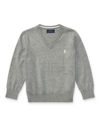 Long-Sleeve V-Neck Sweater, Gray, Size 2-4
