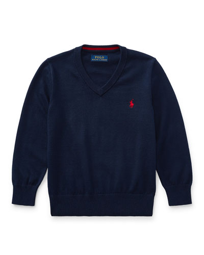 Long-Sleeve V-Neck Sweater, Navy, Size 5-7
