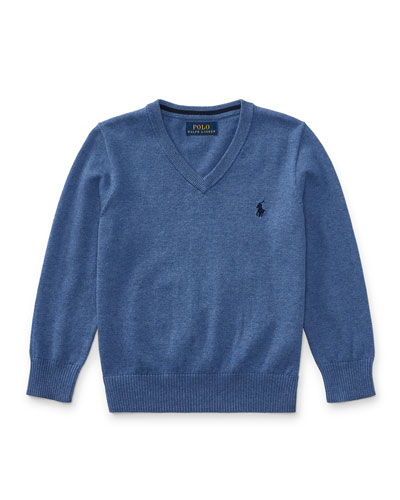 Long-Sleeve V-Neck Sweater, Blue, Size 5-7