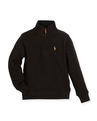 Pima Cotton Half-Zip Pullover Half-Zip Sweater, Black, Size 5-7