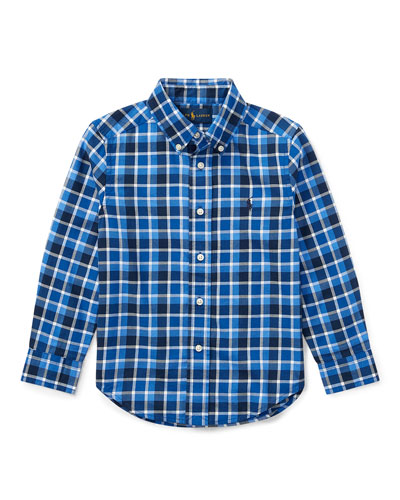 Twill Plaid Button-Down Shirt, Blue, Size 5-7