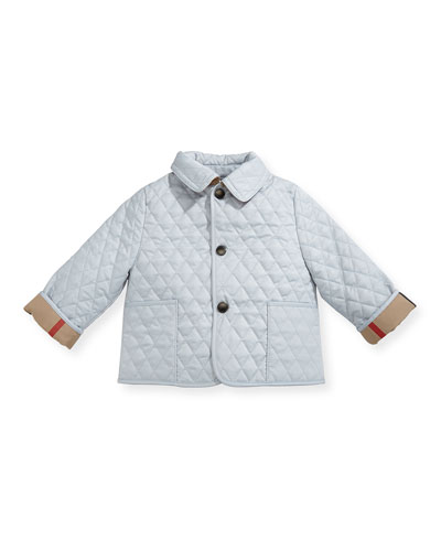 Colin Quilted Collared Jacket, Light Blue, Size 3-24 Months