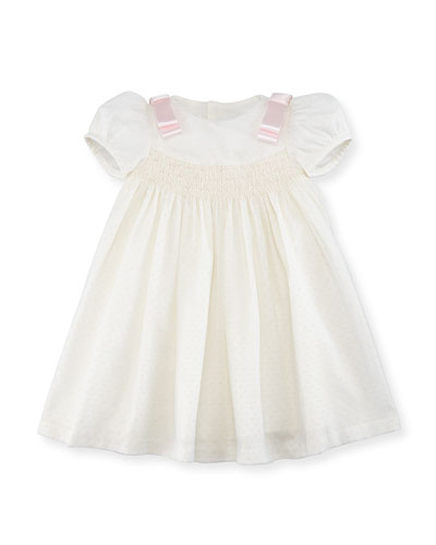 Ribbon Dotted-Tulle Dress, Size 3-24 Months