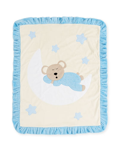 Goodnight Teddy Baby Blanket, Blue