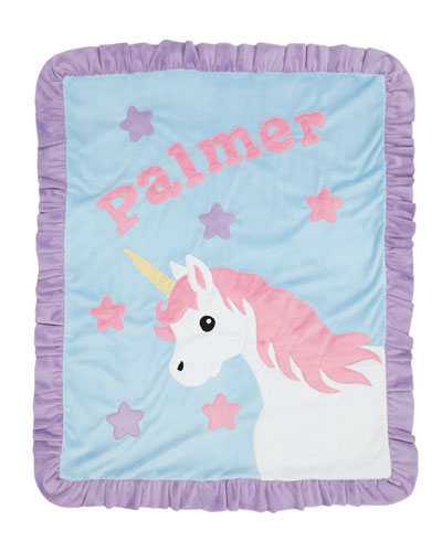 Personalized Unicorn Plush Blanket, Blue