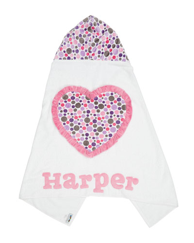 Personalized Ruffle Heart Hooded Towel, White