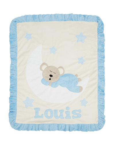 Personalized Goodnight Teddy Plush Blanket, Blue