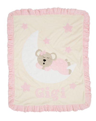 Personalized Goodnight Teddy Plush Blanket, Pink