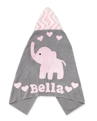 Personalized Big Foot Elephant Hooded Towel, Pink