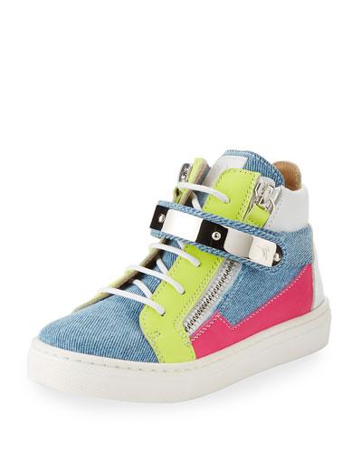 Ares Denim Patchwork Sneaker, Toddler Sizes 4-9