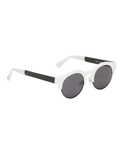 Kids' So Fashion Round Sunglasses, Black/White
