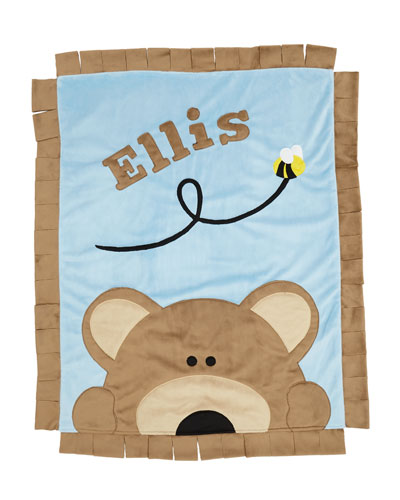 Personalized Peek-a-Boo Bear Plush Blanket, Brown