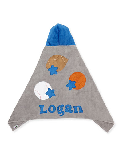 Personalized Good Sport Hooded Towel, Gray/Blue