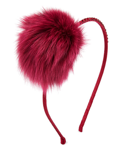 Girls' Crystal Headband w/ Fur Pompom, Red