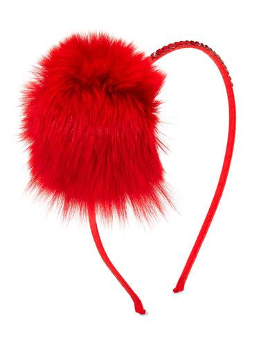 Crystal Headband w/ Fur Pompom, Red