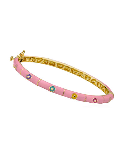 Girls' Flower Enamel Hinged Bangle, Pink