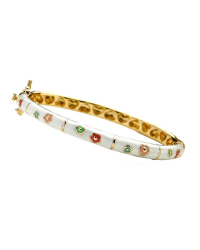 Girls' Flower Enamel Hinged Bangle, White