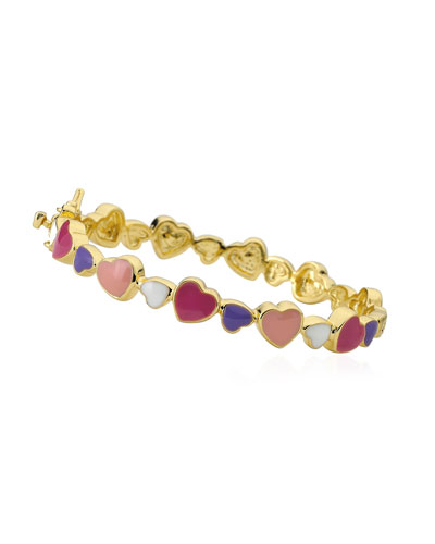 Girls' Multi Heart Enamel Bangle, Multi
