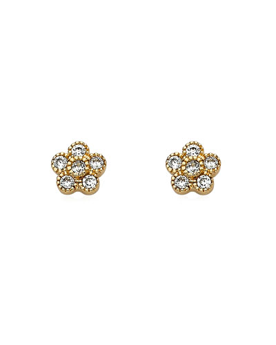 Girls' Flower Stud Earrings, Gold