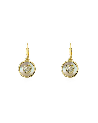 Girls' Mother-of-Pearl Heart Earrings, Gold