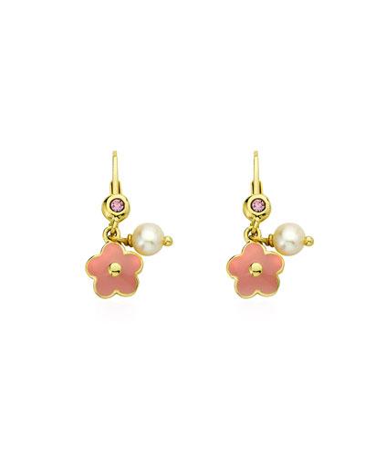 Girls' Hanging Flower Earrings, Pink