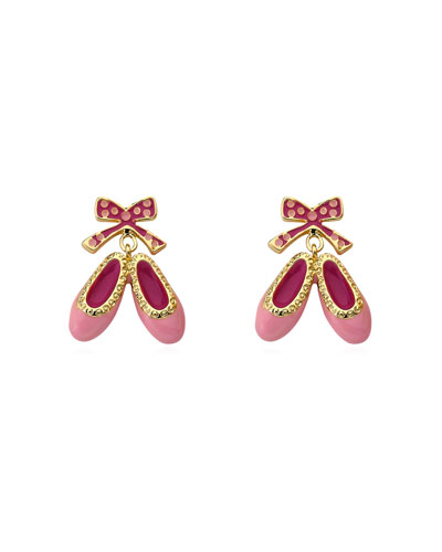 Girls' Enamel Hanging Ballet Slipper Earrings, Pink