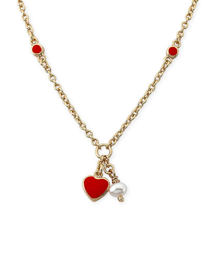 Girls' Heart Pendant Necklace, Red