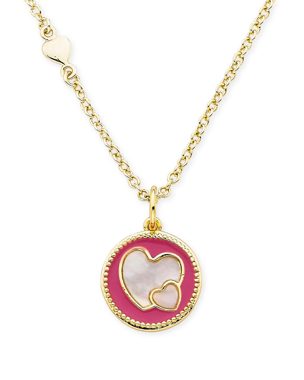 Girls Heart Pendant Necklace Hot Pink