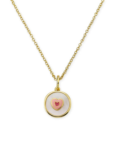 Girls' Mother-of-Pearl Heart Pendant Necklace, White
