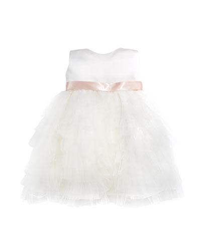 Tiered Ruffle Dress, Ivory/Blush, Size 6-24 Months