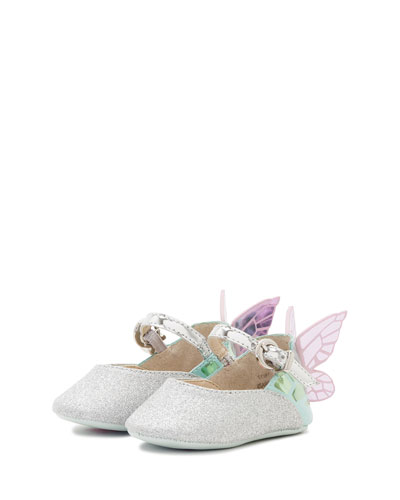 Chiara Glittered Butterfly-Wing Flat, Infant