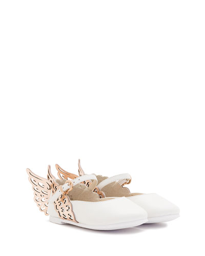 Evangeline Leather Butterfly-Wing Flat, White, Toddler/Youth Sizes 5T-3Y