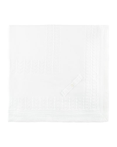 Knit Cotton Baby Blanket, White