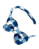 Girls' Cotton Gingham Headband, Blue